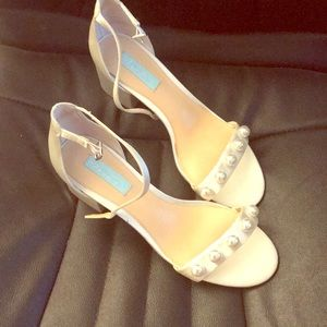 Betsy Johnson Pearl White Shoes with Ankle Straps